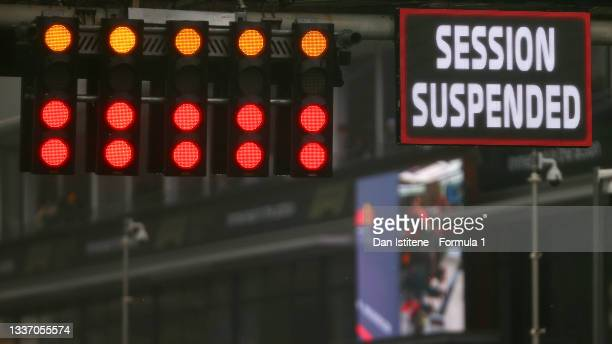 The start of the race is delayed due to the weather during the F1 Grand Prix of Belgium at Circuit de Spa-Francorchamps on August 29, 2021 in Spa,...