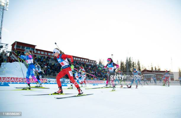 The start of the Single Mixed Relay at the BMW IBU World Cup Biathlon Oestersund at Swedish National Biathlon Arena on November 30, 2019 in...