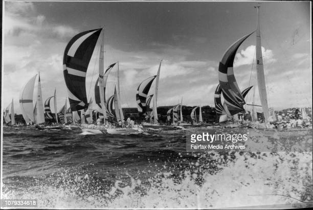 The start of the Sydney to Mooloolaba yacht race on Sydney Harbour.The yacht make their way towards the Heads shortly after the start. March 26,...
