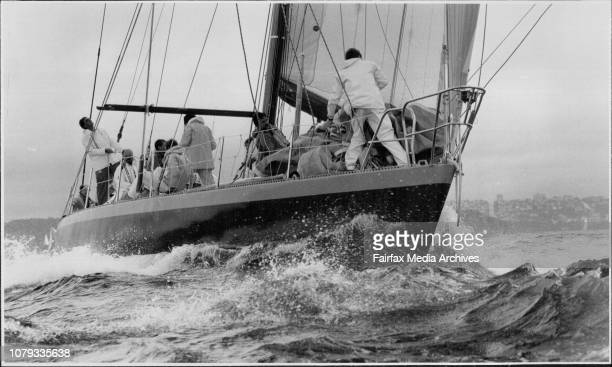 The start of the Sydney to Mooloolaba yacht race on Sydney Harbour.Apollo, owned by Jack Rooklyn leads the fleet at the Heads. March 26, 1985. .