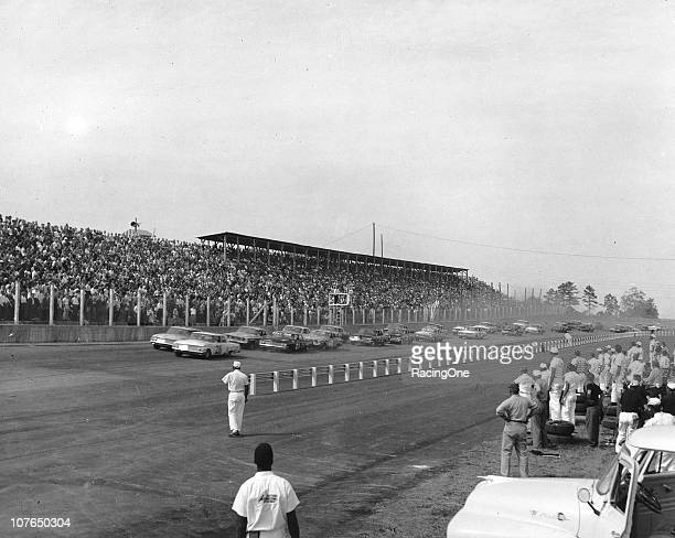 The start of the Wilkes 320 NASCAR Cup race at North Wilkesboro Speedway Ford drivers Fred Lorenzen and Nelson Stacy started from the front row but...