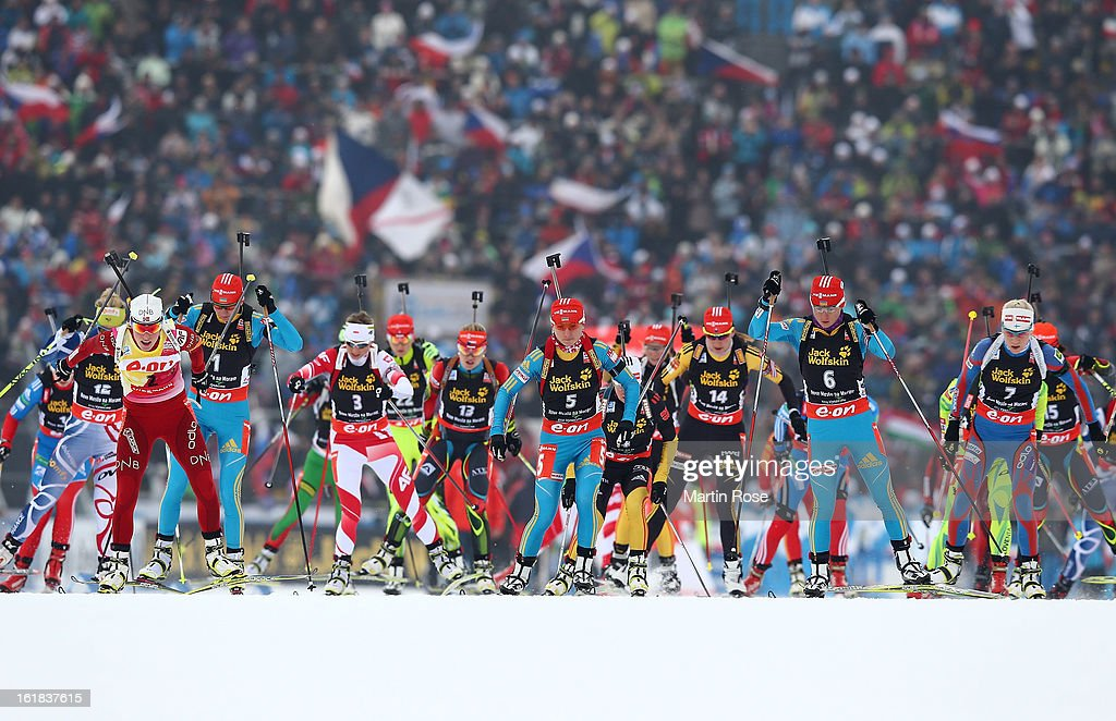 The start of the Women's 12.5km Mass Start during the IBU Biathlon World Championships at Vysocina Arena on February 17, 2013 in Nove Mesto na Morave, Czech Republic.