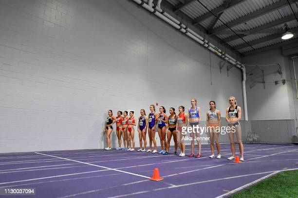 The start of the women's one mile at Dempsey Indoor Center on February 15 2019 in Seattle Washington