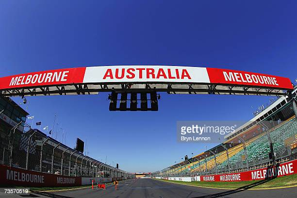 The start straight of the track is seen ahead of the Australian Formula One Grand Prix at the Albert Park Circuit on March 14, 2007 in Melbourne,...