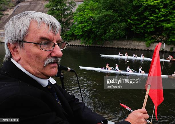 The starter prepares to set off two boats during the 183rd annual regatta on the River Wear on June 11 2016 in Durham England The present regatta...