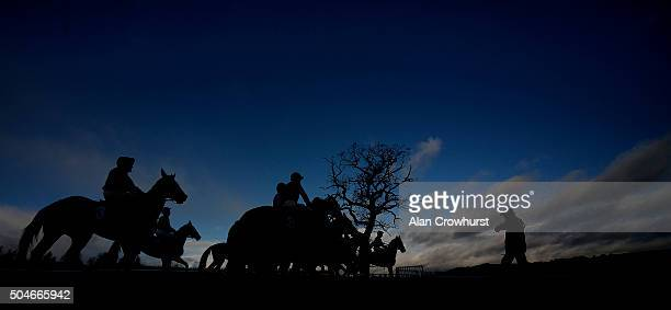The starters assistant keeps a check on the runners before the off of The racingukcom/winterseasonticket Maiden Hurdle at Ludlow racecourse on...