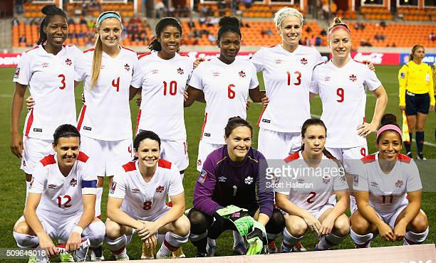 The starters for Canada are seen on the pitch before the game between Canada and Guyana during the 2016 CONCACAF Women's Olympic Qualifying at BBVA...