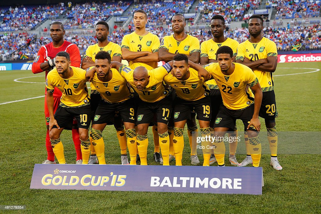 The starters for team Jamaica pose for a photo before the start of their match against Haiti during the 2015 CONCACAF Gold Cup quarterfinal match at M&T Bank Stadium on July 18, 2015 in Baltimore, Maryland.