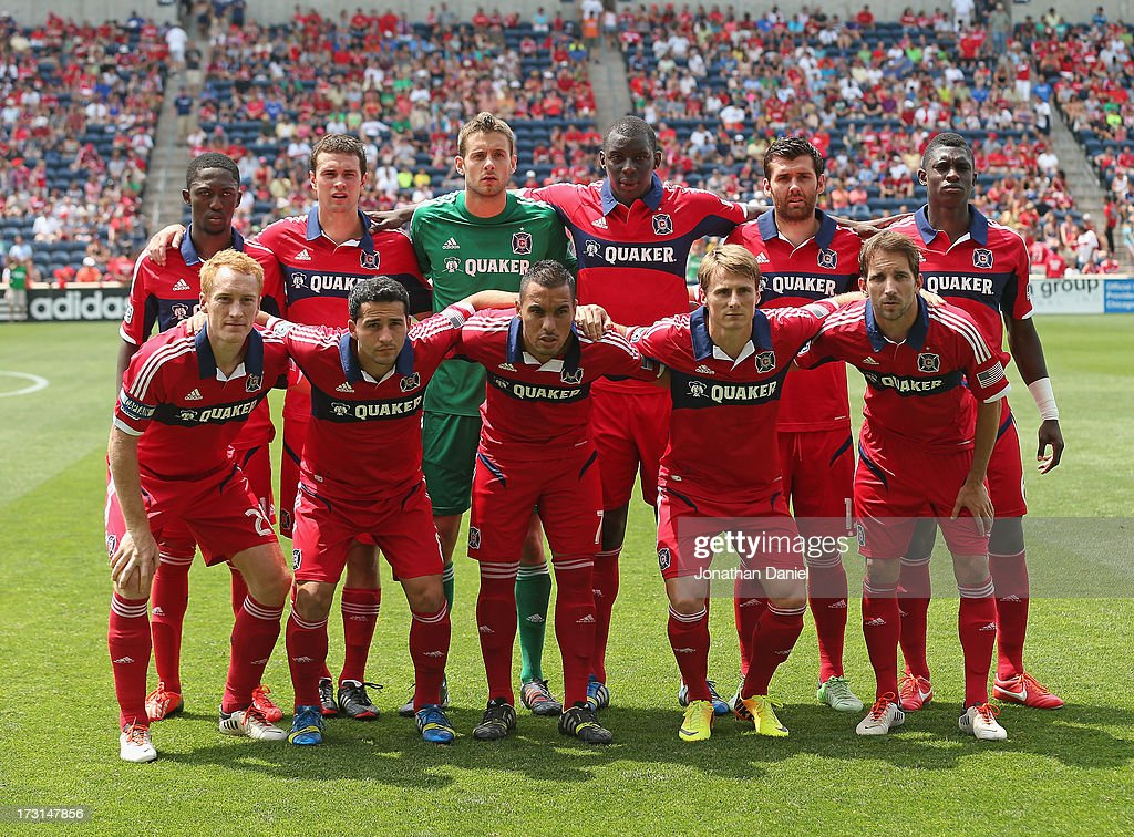 The starting 11 for the Chicago Fire pose before taking on Sporting Kansas City during an MLS match at Toyota Park on July 7, 2013 in Bridgeview, Illinois. Sporting Kansas City defeated the Fire 2-1.