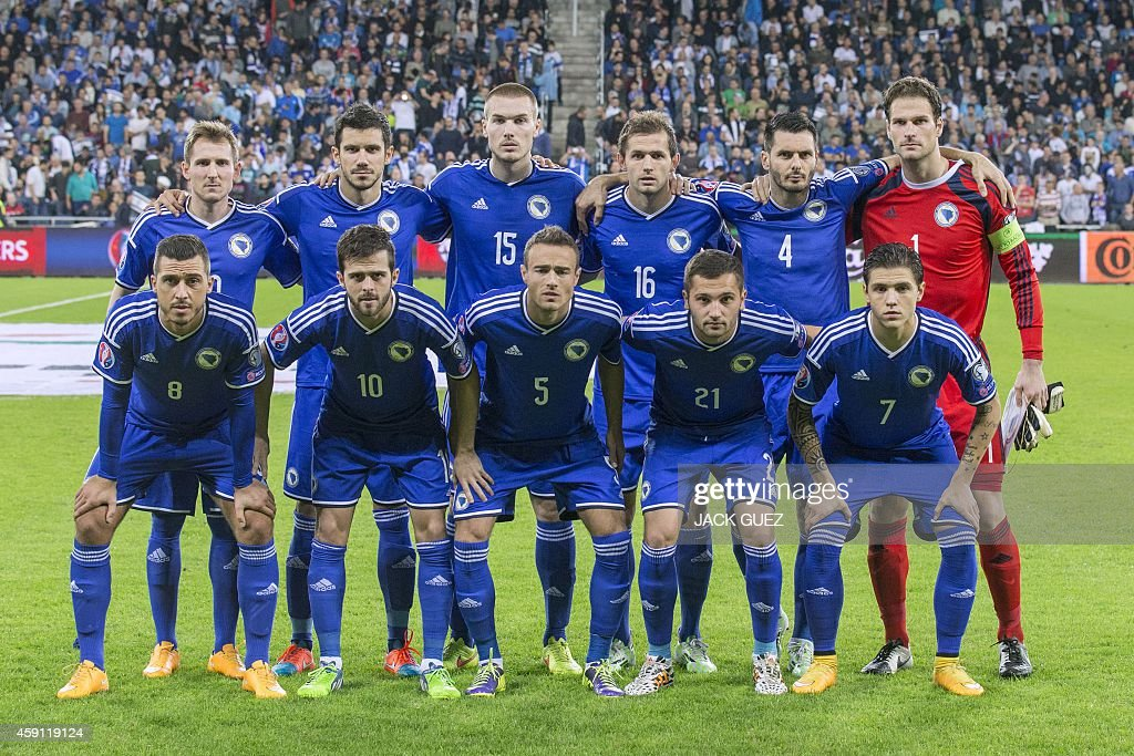 The starting Bosnia-Herzegovina team poses for a picture before their Euro 2016 Group B qualifying match against Israel at the Sammy Ofer Stadium in the Israeli coastal city of Haifa on November 16, 2014.