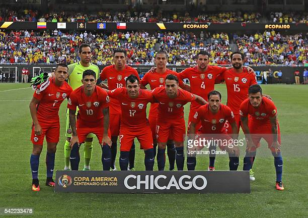 The starting eleven for Chile poses before a semifinal match against Colombia in the 2016 Copa America Centernario at Soldier Field on June 22 2016...