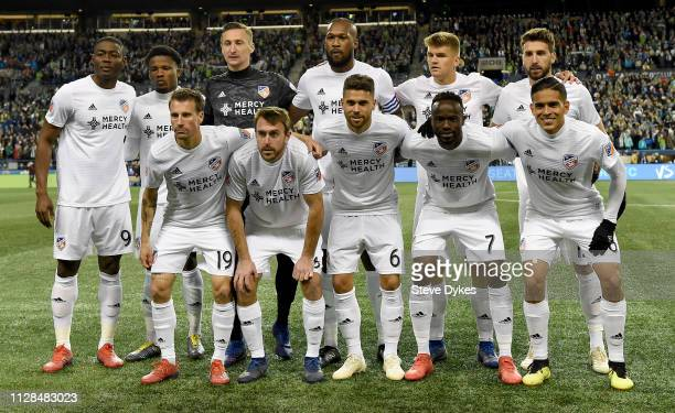 The starting eleven for FC Cincinnati poses before the match against the Seattle Sounders at CenturyLink Field on March 2, 2019 in Seattle,...