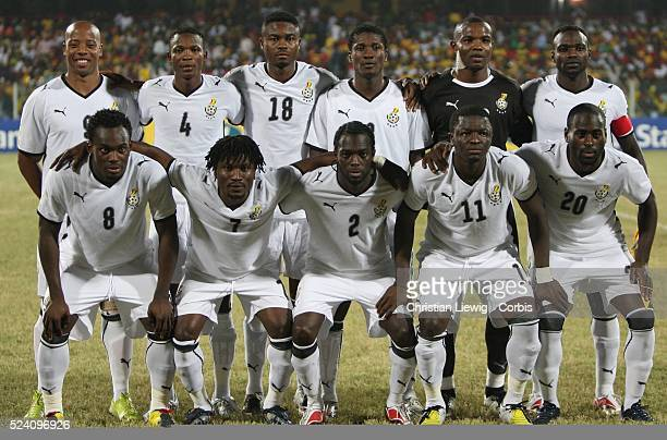 The starting eleven of Ghana during the Group A 2008 CAF African Cup of Nations match between Ghana and Namibia at the Ohene Djan Stadium in Accra...