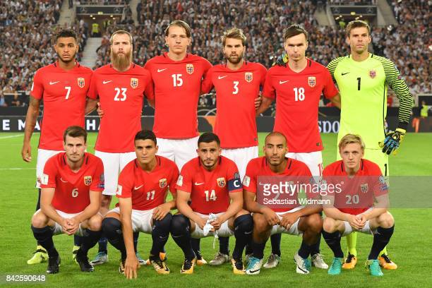 The starting eleven of Norway pose for the team photo during the FIFA 2018 World Cup Qualifier between Germany and Norway at MercedesBenz Arena on...