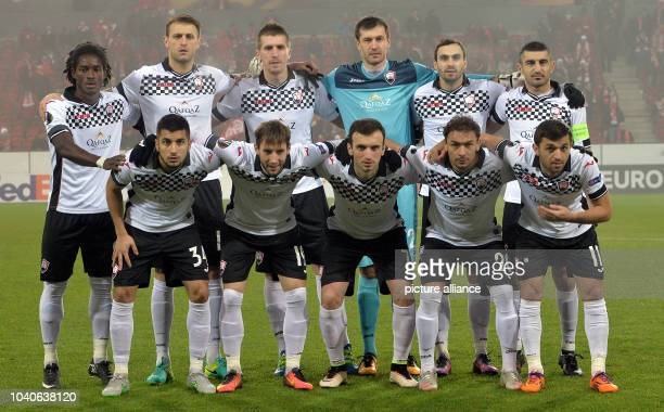 The starting eleven of the Azerbaijani soccer club Gabala FK pose for a team photo before the Europa League soccer fixture between FSV Mainz 05 and...