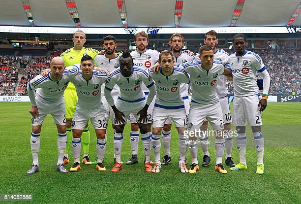 The starting eleven of the Montreal Impact pose for a team photograph before their MLS game against the Vancouver Whitecaps March 6 2016 at BC Place...