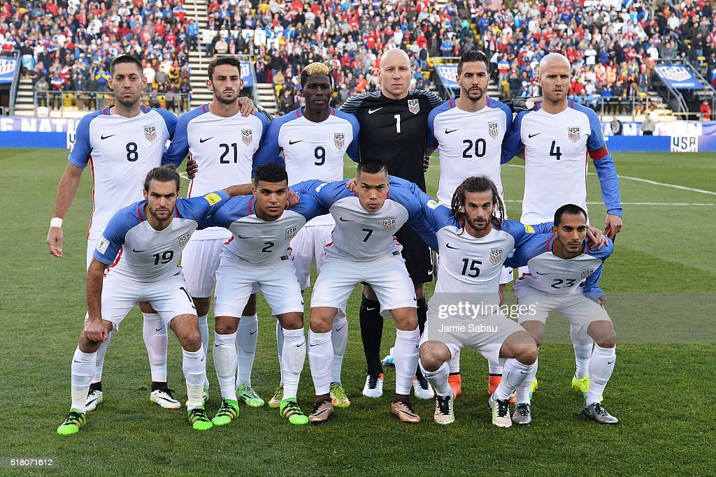 The starting eleven of the United States Men's National Team poses for a photo on the pitch before their game against Guatemala during the FIFA 2018 World Cup qualifier on March 29, 2016 at MAPFRE Stadium in Columbus, Ohio.