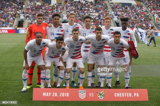The starting eleven of the United States pose for a picture prior to the friendly soccer match against Bolivia at Talen Energy Stadium on May 28 2018...
