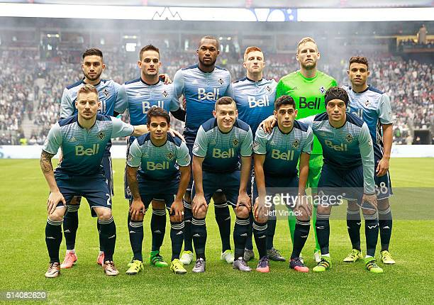 The starting eleven of the Vancouver Whitecaps pose for a team photograph before their MLS game against the Montreal Impact March 6 2016 at BC Place...