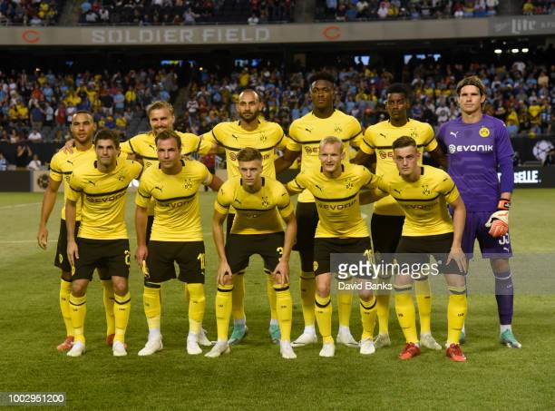 The starting eleven players for Borussia Dortmund pose for a photo before the game against Manchester City on July 20 2018 at Soldier Field in...