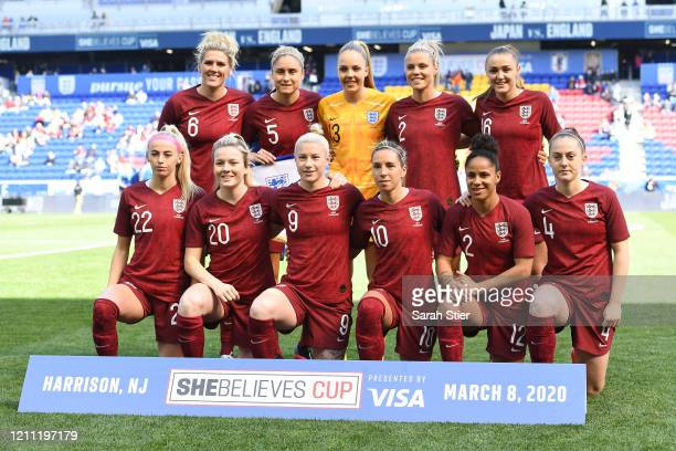 The starting eleven players for Team England pose before the first half against Japan in the SheBelieves Cup at Red Bull Arena on March 08, 2020 in...