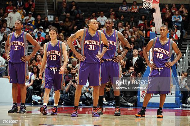 The starting five of Boris Diaw Steve Nash Shawn Marion Amare Stoudemire and Raja Bell of the Phoenix Suns wait for play to resume in the game...