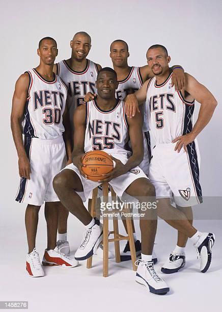 The starting five of the New Jersey Nets guard Kerry Kittles forward Kenyon Martin center Dikembe Mutombo forward Richard Jefferson and point guard...