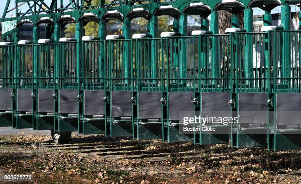 The starting gates at the shuttered Suffolk Downs horse racing track in Boston are pictured on Oct 19 2017 Suffolk Downs is the primary proposed site...