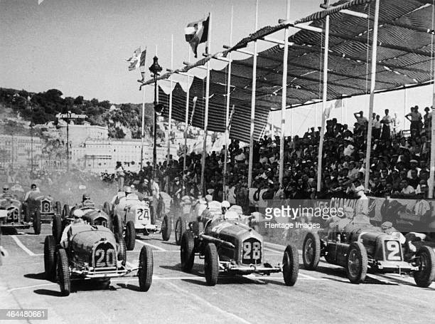 The starting grid for the Nice Grand Prix 1934 Rene Dreyfus is in car 20 a Bugatti 59 Achille Varzi is in car 28 an Alfa Romeo Tipo B P3 Tazio...