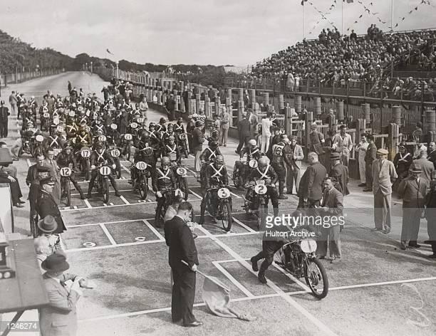 The starting line for the Isle of Man Junior TT race Mandatory Credit Allsport Hulton/Archive