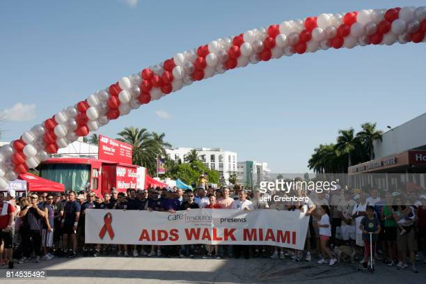 The starting line of the AIDS Walk Miami event