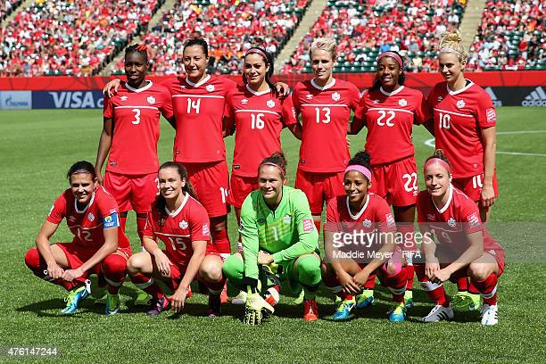 The starting line up for Canada before the FIFA Women's World Cup Canada 2015 Group A match between Canada and China PR at Commonwealth Stadium on...