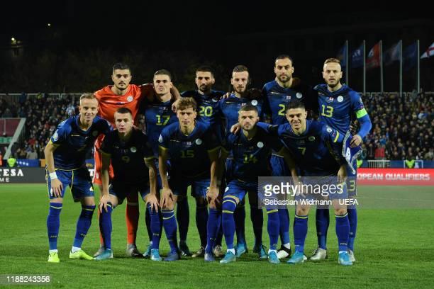 The starting line up of Kosovo prior to the UEFA Euro 2020 Qualifier between Kosovo and England on November 17, 2019 in Pristina, Kosovo.