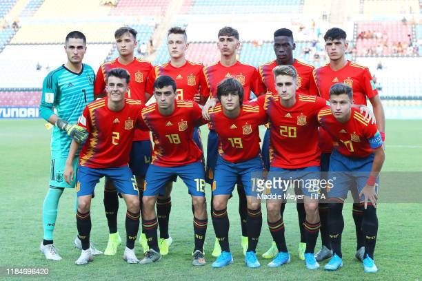 The starting line up of Spain before the FIFA U17 World Cup Brazil 2019 group E match between Spain and Tajikistan at Estádio Kléber Andrade on...