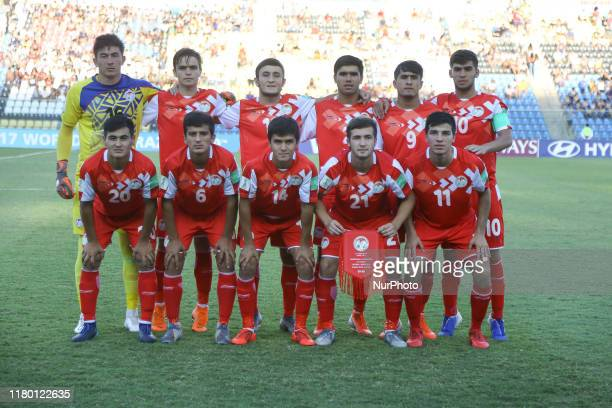 The starting line up of Tajikistan before the FIFA U17 World Cup Brazil 2019 Group E match between Argentina and Tajikistan at Estadio Kleber Andrade...