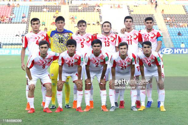 The starting line up of Tajikistan before the FIFA U17 World Cup Brazil 2019 group E match between Spain and Tajikistan at Estádio Kléber Andrade on...