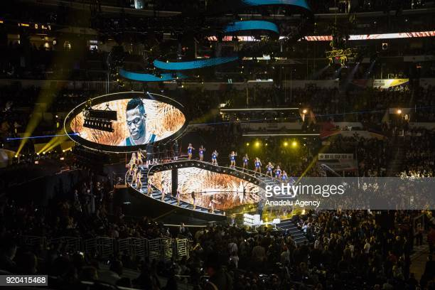 The starting line up of Team Lebron takes the stage during introductions before the start of the 2018 NBA AllStar Game at the Staples Center in Los...
