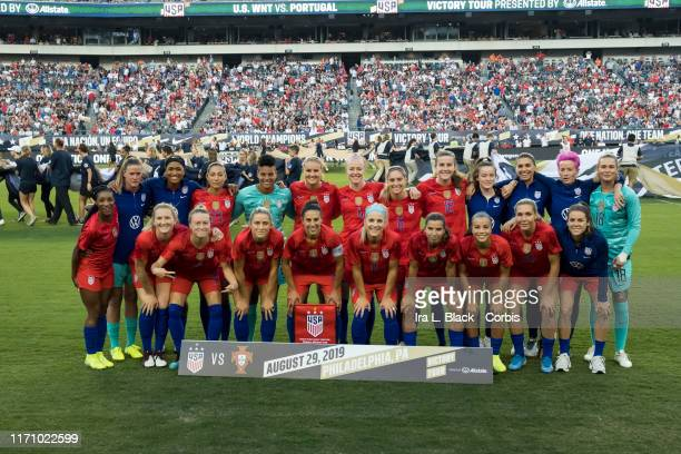 The starting line up of the United States of the US Women's 2019 FIFA World Cup Championship during the Victory Tour presented by Allstate match...