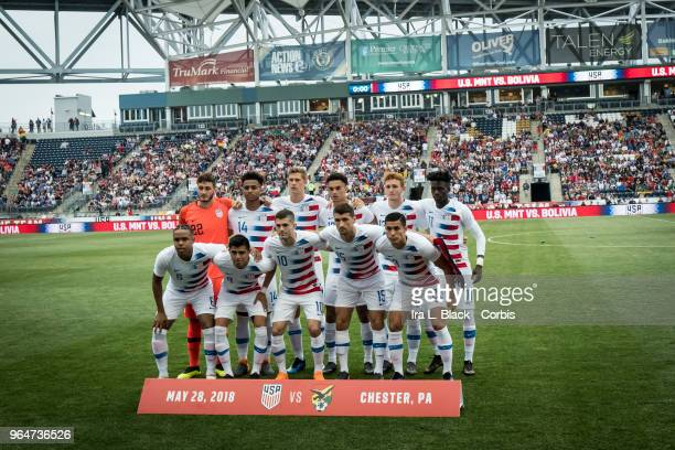 The starting line up of the US Men's National team during the United States Men's National Team v Bolivia at Talen Energy Stadium on May 28 2018 in...