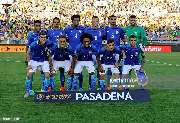 The starting lineup for Brazil during the 2016 Copa America Centenario Group B match between Brazil and Ecuador at the Rose Bowl June 4 Pasadena...