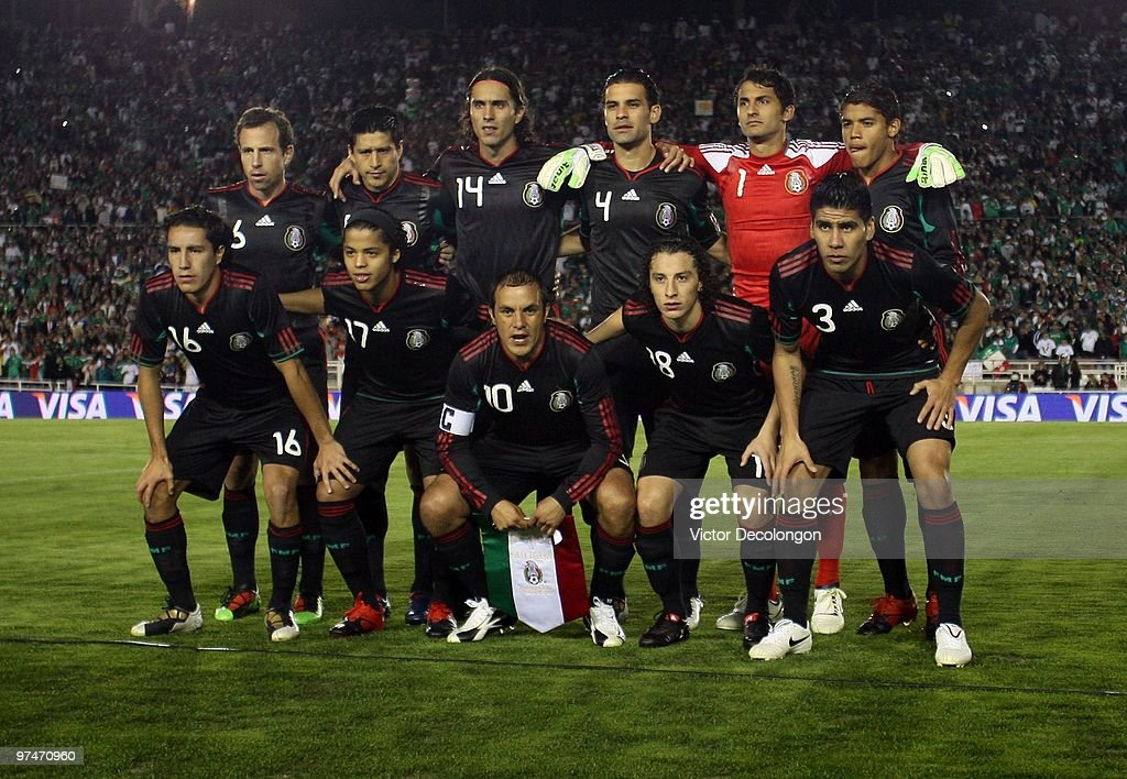 The starting line-up for Mexico pose for a team photo prior to their International Friendly match against New Zealand at the Rose Bowl on March 3, 2010 in Pasadena, California. Mexico defeated New Zealand 2-0.