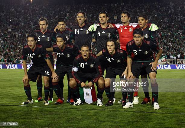 The starting lineup for Mexico pose for a team photo prior to their International Friendly match against New Zealand at the Rose Bowl on March 3 2010...