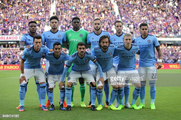 The starting lineup for New York City FC is seen during a MLS soccer match between New York City FC and Orlando City SC at the Orlando City Stadium...
