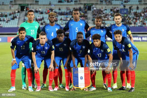 The starting lineup of France before the FIFA U20 World Cup Korea Republic 2017 Round of 16 match between France and Italy at Cheonan Baekseok...