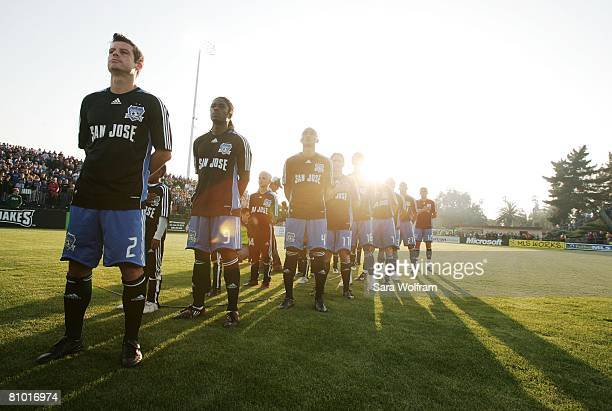 The starting lineup of the San Jose Earthquakes stand for the National Anthem prior to the MLS game against FC Dallas at Buck Shaw Stadium on May 3,...