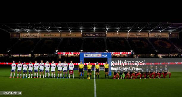The starting lineup of the United States and Canada ahead of the 2021 SheBelieves Cup game at Exploria Stadium on February 18, 2021 in Orlando City,...