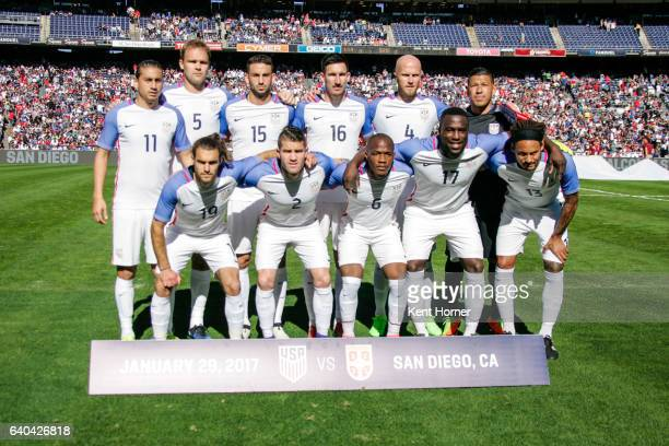 The starting lineup of the United States Men's National soccer team poses pregame prior to the match against Serbia at Qualcomm Stadium on January 29...