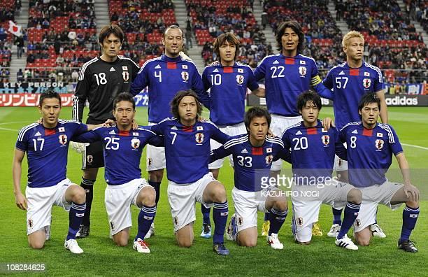 The starting members of Japan's national soccer team Seigo Narazaki Marcus Tulio Tanaka Shunsuke Nakamura Yuji Nakazawa Keisuke Honda Makoto Hasebe...