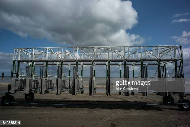 The starting stalls at Laytown racecourse on September 5 2017 in Laytown Ireland Laytown racecourse is a horse racing venue run on the beach in...