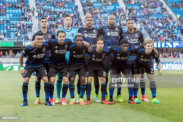 The startling lineup of the San Jose Earthquakes pose prior to the Major League Soccer game between the Portland Timbers and the San Jose Earthquakes...